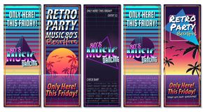Poster in style 80 s. The poster in vintage style on a retro party banner, invitation, flyer, advertising. Vector illustration of retro disco and dance. Other stock illustration
