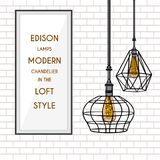 Poster with stylish, modern, geometric, designer chandeliers Stock Photo