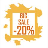 Autumn big sale, 20 percent discount. Poster on the subject of sale, autumn leaves in a frame royalty free illustration