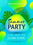 Poster Summer Beach Party neon stock illustration