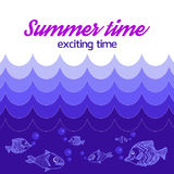 Poster Summer is exciting time, with sea waves and sea life Stock Photography