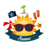 Poster summer fun sun glasses ball flip flop camera banner. Illustration eps 10 Stock Photo