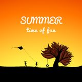 Poster summer landscape style, fun theme Stock Photography