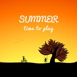 Poster summer landscape style, play theme Royalty Free Stock Photography