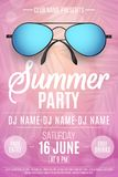 Poster for a Summer Party. Beach sunglasses on a pink background with palm trees. Glares bokeh. The names of the club and DJ. Seas. Onal disco flyer. Vector Royalty Free Stock Photo