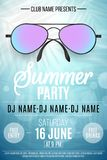 Poster for a Summer Party. Colorful beach sunglasses on a blue background with palm trees. Glares bokeh. The names of the club and. DJ. Summer disco flyer Vector Illustration