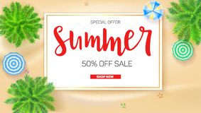 Poster of Summer sale action. Get up to fifty percent discount. Palm trees, sun umbrellas on seashore, top view. Presentation template for travel agency, 3D Royalty Free Stock Images
