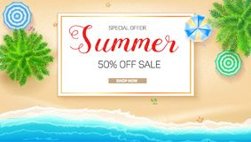 Poster of Summer sale action. Get up to fifty percent discount. Tropical landscape with blue ocean and gold sand, top. View. Presentation template for travel Royalty Free Stock Images
