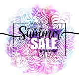 Poster summer sale on a trendy tropical watercolor background, exotic palm trees. Card, label, flyer, banner design. Poster summer sale on a trendy tropical Royalty Free Illustration