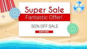 Poster of Summer sales on seashore backdrop. Get up to fifty percent discount, special offer. Beach umbrellas, golden. Sand, slippers and starfish on backdrop Stock Photo
