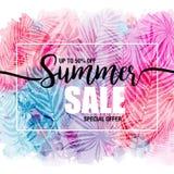 Poster summer sales on trendy tropical background, exotic leaves. Card, label, flyer, banner design element. Vector Stock Image