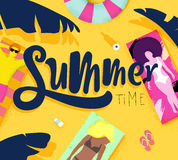 Poster summer time. Summer time poster with beach and lying on deck chair people on the sun, bright colorful modern style Royalty Free Stock Image