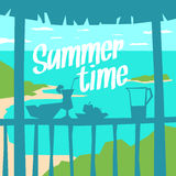 Poster summer time with the landscape and silhouette of fruit, cocktail. Decanter with juice and watermelon in the shade of the terrace. Vector illustration Royalty Free Stock Photography