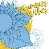 Poster for summer vibes with sunflower in sketch style. Vector illustration royalty free illustration