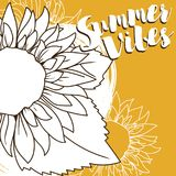 Poster for summer vibes with sunflower in sketch style. Vector illustration stock illustration
