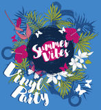 Poster for summer vinyl party. Disco style invitations in trendy tropical style, vector illustration Royalty Free Stock Photo