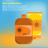 Poster Sunscreens. Vector illustration Royalty Free Stock Photo