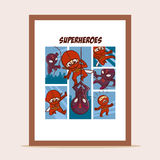 Poster Superheroes in the city. Vector Illustration Royalty Free Stock Photos