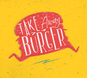 Poster take away burger pink Royalty Free Stock Image