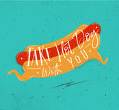 Poster take hot dog with you turquoise Royalty Free Stock Image