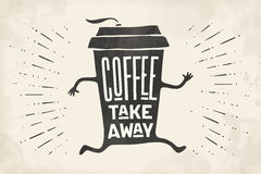 Poster take out coffee cup with lettering Coffee take away Stock Images