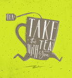 Poster take tea with you green Stock Photography