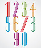 Poster tall colorful numbers with parallel stripes on white back Stock Photography