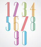 Poster tall colorful numbers with parallel stripes on white back Royalty Free Stock Images