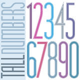 Poster tall colorful numbers on white background. Numeration from 0 to 9 Royalty Free Stock Images