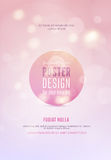 Poster template with bokeh lights background. Vector illustration Stock Image