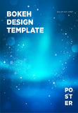 Poster template with bokeh lights background. Vector illustration Stock Photography