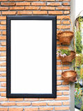 Poster template on Brick wall Plant decoration Royalty Free Stock Photography