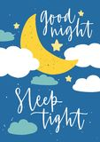 Poster template for children`s room with moon crescent, stars, clouds and Good Night Sleep Tight inscription handwritten stock illustration