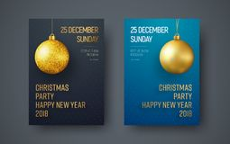 Poster template for a Christmas party. Design of a New Year`s flyer with a golden ball on a black and blue background. vector illustration Royalty Free Stock Photos
