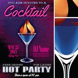 Poster template for the cocktail party Stock Photos