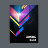 Poster template. Poster/cover design template with shiny geometric shapes on black background Stock Image