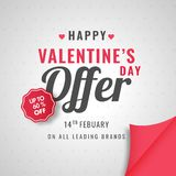 Poster or template design upto 60% discount offer for Happy Vale. Ntine sale royalty free illustration
