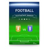 Poster template of Football championship. Night football stadium with the spotlights. Soccer cup advertising. Sport Royalty Free Stock Image
