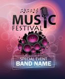 Poster Template music festival with Bokeh Effect. Concert, Party. illustration Royalty Free Stock Photo