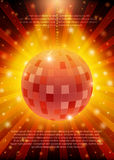 Poster Template with retro disco ball banner.  Design for presen Stock Images