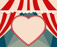 Poster Template with retro heart circus banner. Design for prese Stock Photography