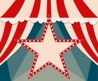 Poster Template with retro star circus banner. Design for presen Stock Photos