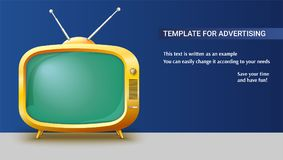 Poster template with retro yellow TV set for advertisement on horizontal long backdrop, 3D illustration. Realistic. Vintage TV with a blank green screen and Stock Photography