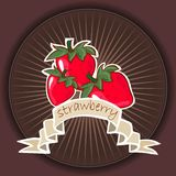 Poster template for strawberry farm.  Fruit label design. Stock Photos