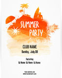 Poster template for summer party vector illustration