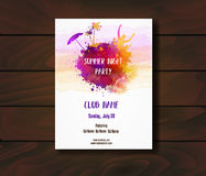Poster template for summer party stock illustration