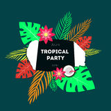 Poster template of tropical party. Royalty Free Stock Photography