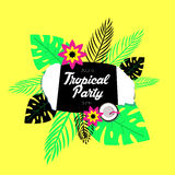 Poster template of tropical party. Royalty Free Stock Photo