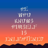 Poster template - he who knows himself is enlightened , sunset background, asian style lettering Royalty Free Stock Images