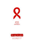 Poster template. World AIDS Day, 1st December, poster template. Red ribbon, hand drawn design element. Isolated on white Stock Photos